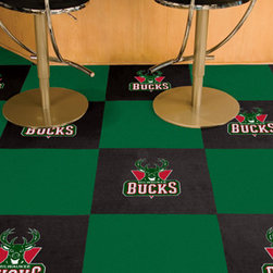 Sports Licensing Solutions - Fanmats sports team Carpet Tiles - Officially licensed modular carpet flooring.  Ideal for sports themed rooms or gyms.  20 tiles includes 10 logo tiles and 10 solid tiles.  Covers 45 sqft.  Made in U.S.A.  Man-made fiber carpet face and vinyl backing.  Easy installation. No under padding required.