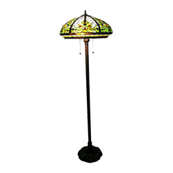 Warehouse of Tiffany - Tiffany-style Classic Floor Lamp - Add a bit of unique and highly ornate style to any room with this Tiffany-style floor lamp. Standing over five feet tall, this two-bulb lamp features a Pompeii base and a shade with 702 individual pieces of cut glass in a dazzling pattern.