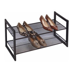 Richards Homewares - Metallic Bronze 2-Tier Flat Stackable Shoe Rack - Organize the shoes by your front door more easily with this Stackable Bronze Shoe Holder. Designed to easily stack, you can create enough shoe storage for the whole family! The Stackable Bronze Shoe Holder can also fit into most closets, providing you with concealed shoe storage.