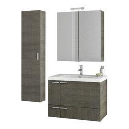 ACF - 31 Inch Grey Oak Bathroom Vanity Set - This four piece vanity set was made in Italy by designer ACF.