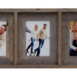 MyBarnwoodFrames - Collage Picture Frame 5x7 With 5 Openings, Barnwood - Our  Collage  Picture  Frames  with  five  (5)  openings  make  great  gifts,  and  this  hard-to-find  item  has  become  one  of  our  best-sellers.  We  start  with  natural  reclaimed  barnwood  and  handcraft  a  collage  frame  that  will  accommodate  five  different  5x7  photos,  prints  or  pictures.  What's  great  about  this  frame  is  that  you  can  simply  rotate  the  entire  frame  and  still  have  a  unique  display  that  will  hold  landscape-oriented  photos  (7  inches  wide  by  5  inches  high).          Product  Specifications:                  Holds  five  5x7  photos  side-by-side              Glass  and  hanging  hardware  are  included              Can  hang  horizontally  (use  for  portrait  photos)  or  vertically  (use  for  landscape  photos)              Dimensions:  35  wide  by  9.5  high  by  1.75  deep  (dimensions  are  approximate  and  may  vary  slightly  depending  on  the  width  of  the  barnwood  planks  used  to  build  the  frame)              Made  in  USA  from  100%  reclaimed  wood              Eco-Friendly  construction              Now  you  can  hang  five  of  your  son's  photos  from  his  championship  football  game  all  in  the  same  place.  Display  five  favorite  Christmas  cards  for  a  unique  holiday  display.  Schedule  a  family  photo  shoot  knowing  you'll  be  able  to  showcase  at  least  five  of  your  favorites.  There  are  so  many  fun  ways  to  fill  a  collage  picture  frame,  it's  mind-boggling!          Barnwood's  versatility  makes  it  a  suitable  medium  for  many  different  decorating  styles:  Western  Rustic,  Nautical,  Green/Eco-Friendly,  and  more.          View  our  entire  collection  of  5  opening  collage  frames  here