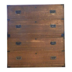 """Pre-owned Japanese Meji Period 2-piece Isho Dansu Tansu - This is an amazing piece! Japanese Tansu is the mobile cabinetry used in Ancient Japan for transporting all manner of things. This rare two piece clothing chest, Isho Dansu, comes from the Meiji period 1868 - 1912. Made of traditional lightweight kiri-wood with a """"dry"""" rubbed finish, it features lovely campaign style hardware engraved with a flying crane motif.    This piece is spectacular together as well as separated. Placed back-to-back, the small trunks make a chic coffee table. The Tansu is in good condition for its age. The inside of one drawer needs to be re-attached, otherwise gorgeous.    39"""" tall x 15.25 deep x 36"""" wide   19.75"""" tall when separated."""