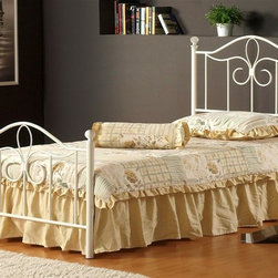 Hillsdale Furniture - Westfield Metal Bed Set (Twin) - Choose Size: TwinConstructed from a sturdy heavy gauge tubular steel. Off White color. With 4 leg Satin Beige Twin/Full Bed frame. Some assembly required. Twin Headboard: 39 in. W x 48 in. H. Twin Footboard: 39 in. W x 29 in. H. Full Headboard: 54.5 in. W x 48 in. H. Full Footboard: 54.5 in. W x 29 in. H. Frame: 76 in. L x 54 in. WPerfect for a little girlâs room, Hillsdale Furnitureâs adorable Westfield canopy bed boasts a charming arched design, sweet scrollwork, and a canopy option to create your daughterâs dream bedroom. Incised in a pretty white, this bed is ideal with your current bedroom furnishings or as an eclectic metal bed to match Hillsdaleâs popular Westfield bedroom collection.