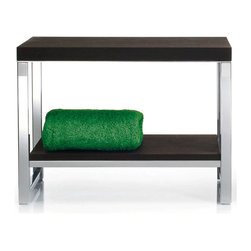 Modo Bath - Harmony 809 Wood Bench with Board in Polished Stainless Steel - Harmony 509 Wood Bench with Board in Polished Stainless Steel