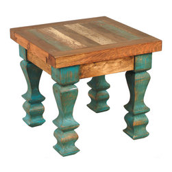 "Old Wood Turquoise Table - A Black Forest Decor Exclusive - The hand-crafted rustic Old Wood Turquoise Table  made using reclaimed wood  makes a charming addition to your home. Each tabletop has a one-of-a-kind variation of colors and textures due to the use of antique doors  while carved legs painted in an antiqued turquoise add a touch of color and vintage flair. Measures 18""W x 18""D x 17""H. ~ Ships from the manufacturer. Allow 1 to 2 weeks."
