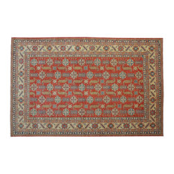 Area Rug, Super Kazak 10'x14' 100% Wool Tribal Design Hand Knotted Rug SH9322 - This collections consists of well known classical southwestern designs like Kazaks, Serapis, Herizs, Mamluks, Kilims, and Bokaras. These tribal motifs are very popular down in the South and especially out west.