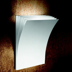 AXO Light - Polia Wall Sconce by AXO Light - The thin, curving sheets of metal that comprise the AXO Light Polia Wall Sconce evoke fluttering pages of a book. Available in two sizes, the internal pages of this book are white with either a Textured White or Basalt Grey outer cover. This unique structure functions by diffusing light and directing it up a wall. Designed by Manuel Vivian. Italy's AXO Light combines traditional Venetian glasswork and artisan craftwork with avant-garde lighting techniques and innovative materials. Their design philosophy is clear: use creativity and inspiration to create stunning lighting replete with value and emotion.