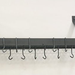 "36¼"" x 9"" x 11½"" Graphite Bookshelf Rack w/Grid,12 Hooks, RTA - Graphite ""Bookshelf"" Pot Rack.  Professional style storage for any kitchen. Includes grid, 12 hooks, mounting hardware.  Made of Heavy Gauge Steel, durable, easy-care Graphite Powder coat finish. Assembly required. 36¼""Wx 9""Dx12""H"