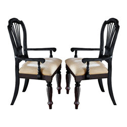 Hillsdale - Hillsdale Wilshire Fabric Arm Chair in Rubbed Black Finish (Set of 2) - Hillsdale - Dining Chairs - 4509805 - The Hillsdale Wilshire Black Arm Chair blends homespun Americana with English Country to create a warm comfortable appearance that will enhance any room. It features rope detailing a sheaf back and a rich distressed finish for that heirloom look and feel. This arm chair will warm up your dining area with its subtle cottage-style charm.