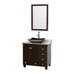 "Wyndham Collection - 36"" Acclaim Single Vanity w/ White Carrera Marble Top & Altair Black Granite Sin - Sublimely linking traditional and modern design aesthetics, and part of the exclusive Wyndham Collection Designer Series by Christopher Grubb, the Acclaim Vanity is at home in almost every bathroom decor. This solid oak vanity blends the simple lines of traditional design with modern elements like beautiful overmount sinks and brushed chrome hardware, resulting in a timeless piece of bathroom furniture. The Acclaim comes with a White Carrera or Ivory marble counter, a choice of sinks, and matching mirrors. Featuring soft close door hinges and drawer glides, you'll never hear a noisy door again! Meticulously finished with brushed chrome hardware, the attention to detail on this beautiful vanity is second to none and is sure to be envy of your friends and neighbors"