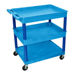 """Luxor - Luxor Tub Cart - BUTC112BU - These Luxor TC series utility carts are made of high density polyethylene structural foam molded plastic shelves and legs that won't stain, scratch, dent or rust. Features a retaining lip around the back and sides of flat shelves. Includes four heavy duty 4"""" casters, two with brake. Has a push handle molded into the top shelf."""