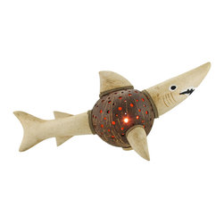 Natural Coconut and Wood Shark Accent Lamp/Night Light - This beautiful hand carved shark shaped accent lamp is made from wood and hemp rope, with a drilled out real coconut shell acting as the body and lampshade. The coconut shell has hundreds of holes drilled into it to provide you with just the right accent lighting. It has a 6 foot long power cord, with a toggle on/off switch, and uses nightlight style bulbs (one is included). The lamp measures 9 inches tall, 22 inches long and 6 1/4 inches wide.