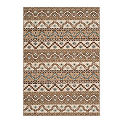 "Safavieh - Cheney Indoor/Outdoor Rug, Creme/Brown 4' X 5'7"" - Construction Method: Power Loomed. Country of Origin: Turkey. Care Instructions: Easy To Clean. Just Rinse With A Garden Hose. Coordinate indoor and outdoor spaces with pretty and practical area rugs from the Veranda collection in designs from mod florals to traditional classics. Power loomed of enhanced polypropylene for easy care whether used on you patio or family room floors, the large loop texture and soft hand of Veranda rugs belie their superb resistance to wear and weather."