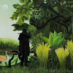 overstockArt.com - Rousseau - Snake Charmer - Enjoy Henri Rousseau's beautiful display of naive jungle themes, Snake Charmer. Today it has been hand painted on canvas, color for color and detail for detail. Henri Julien Felix Rousseau was a French Post-Impressionist painter. Also known as Le Douanier (the customs officer), he was a tax collector. Ridiculed during his life, he came to be recognized as a self-taught genius.