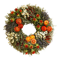 Creekside Farms - Bountiful Wreath - An aromatic blend of dried herbs is adorned with strawflowers, chiles, safflowers and lavender. Make a bright and beautiful statement in any room.