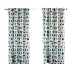 "Best Home Fashion - Monsters Room Darkening Grommet Top Curtain - 1 Pair, Sky Blue, 63"" L - These ""scary"" monsters will surely put a smile on your child's face."