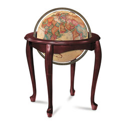 "Replogle - Queen Anne Floor World Globe - 18th Century European influence. The stylish curved design of this solid hardwood stand with cherry-finish is complemented by a 16"" diameter antique ocean globe. The Queen Anne is available with illuminated globe (Model #64036)"