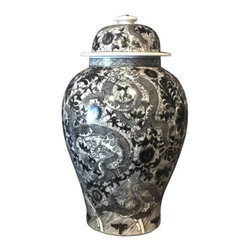 Belle & June - Black & White Temple Jar w/Dragon & Floral Motif - This stately jar looks like it was handed down to you through the generations. The black and white colors of the intricate design add sophistication to any room.
