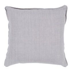 "Surya - Square Linen Pillow SL-004 - 18"" x 18"" - Add a burst of casual color sure to impress throughout your home with this immaculate pillow! Featuring soothing silver coloring against a solid canvas, this piece radiates a cool and comfortable look that will easily translate from space to space. This pillow contains a zipper closure and provides a reliable and affordable solution to updating your home's decor."