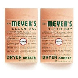 Mrs. Meyer's - Mrs. Meyer's Dryer Sheets - Geranium - Case Of 12 - 80 Sheets - Mrs. Meyer's Clean Day Geranium Dryer Sheets reduce static, soften and add a bit of garden-freshness. These dryer sheets contain a vegetable-derived softening agent and natural essential oils on a biodegradable paper sheet. The formula is made from 97% naturally derived ingredients like rose flower oil and clove flower oil. Pull sheet apart at perforation to reduce risk of blocking dryer vent and toss both unfolded sides into the dryer with your wet clothes. Tumble clothes until dry; then enjoy your fresh, garden-kissed clothes. Mrs. Meyer's Clean Day Dryer Sheets is hard working, biodegradable, and environmentally friendly.