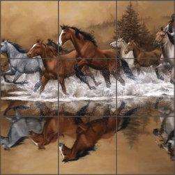 "Artwork On Tile - Sorenson Western Horses Ceramic Tile Mural Backsplash 30"" x 18"" - RW-JS007 - * 30"" w x 18"" h x .25"" Ceramic Tile Mural on Architectural Grade, 6"" Tile w/Satin Finish"