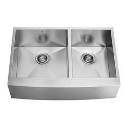 VIGO Industries - VIGO 36-inch Farmhouse  16 Gauge Double Bowl Kitchen, Sink - Give your kitchen a makeover starting with a VIGO stainless steel kitchen sink.