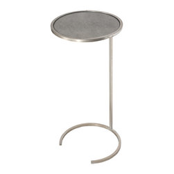 Worlds Away - Worlds Away Round Cigar Table in Champagne Silver Leaf with Antique Mirror Top M - Worlds Away Round Cigar Table in Champagne Silver Leaf with Antique Mirror Top MONACO S