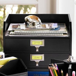 "Bedford Two-Drawer Paper Organizer, Black - Begin and end the workday with a clear desk using our Bedford Accessories. Lazy Susan keeps supplies within easy reach. Caddy holds 3 photos, 3"" x 3"" each. Two-drawer paper organizer includes labels. Acrylic desk protector keeps photos and papers under a clear sheet for easy viewing. All pieces coordinate with our Bedford Collection. Select items are Catalog / Internet Only."