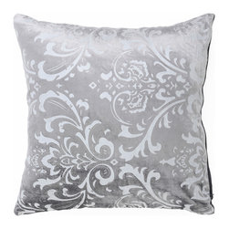 """Best Home Fashion - Damask Velvet Pillow Cover- 18"""" x 18"""", Grey - Come home to these beautifully soft velvet damask pillows. The perfect décor pieces that can complement any couch or chair. Lined with cotton in the back, these pillows have just the right amount of velvet and not too much shine to be the accent piece your couch needed!"""