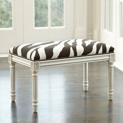 Ballard Designs - Zebra Needlepoint Bench - Every room needs a dose of animal print. This bench would look great in an entry, bedroom or bathroom.