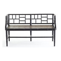 CHINESE CHIPPENDALE BENCH - We designed this piece with small spaces in mind. It's compact size makes it a great seating solution for a room without much square footage, and is low enough to be propped at the end of a queen-size bed. It's updated in a painted finish, with faux bamboo carvings that harken back to Chinese Chippendale style. Fitted with a linen cushion, it makes for the perfect place to relax.