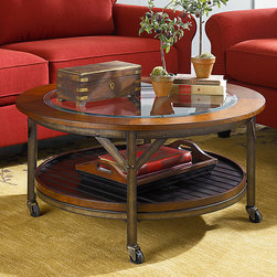 Living Room | Smart Furniture - The Mercantile Round Cocktail Table is perfect for the industrial chic living room or the manly den.