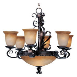 Maxim Lighting - Maxim Lighting 20613VAOI Aspen 9-Light Chandelier in Oil Rubbed Bronze - Warm-Light Bath Lightinginviting, this collection features Vintage Amber glass-Light Bath Lightingour Oil Rubbed finish.