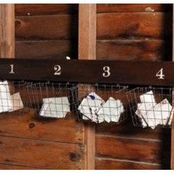 Wooden Wall Bracket with Wire Baskets - Use this to sort out mail or all the school papers, forms and homework from each child.