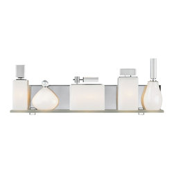 "LBL Lighting - LBL Lola 24"" Wide Opal Bathroom Light - Bring contemporary style into your home with this elegant wall sconce. A streamlined opal glass shade offers a distinct appeal. A polished chrome finish is both stylish and sleek. Lola Collection bath fixture. Polished chrome finish. Features five perfume bottle-shaped glass resting on a frosted glass shelf. For damp locations. ADA compliant. G9 base. Includes five 40 watt halogen lamps. 9"" high. 24"" wide. 4"" extension.  Lola Collection bath fixture.  Polished chrome finish.  Features five perfume bottle-shaped glass resting on a frosted glass shelf.  For damp locations.  ADA compliant.  G9 base.  Includes five 40 watt halogen lamps.  9"" high.  24"" wide.  4"" extension."