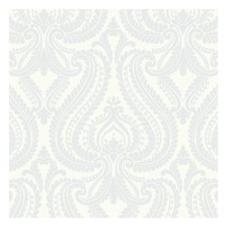 Brewster Home Fashions - Imperial Blue Modern Damask Wallpaper Bolt - Sweet and sophisticated this luxurious damask wall paper of contemporary design coats walls in a pearlescent champagne splendor and soft baby blue hue.