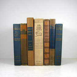 Home Decor Vintage Books - Blue and Tan Shabby chic Decorative Books for Vintage  Decor , Vintage Photography Prop , Home Decor