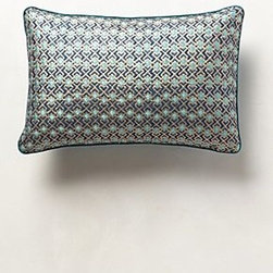 Anthropologie - Aqua Repeat Pillow - *Side zip
