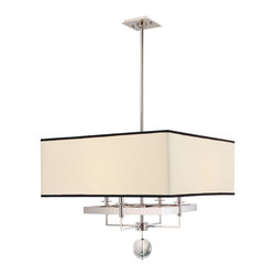 Hudson Valley - 4 Light ChandelierGresham Park Collection - Poise and character combine in the Gresham Park collection.  The designs' delightful contrasts harmonize seeming oppositions.  Crystal spheres soften the shade's boxy form, giving Gresham Park a touch of fresh glamour.