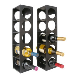 Proman Products - Proman Products Rutherford Wine Rack in Black - Rutherford wine rack, comes in set of two units, each unit can hold 5 bottles, can be stacked on table top or Put on the wall. Oak veneer, color: black
