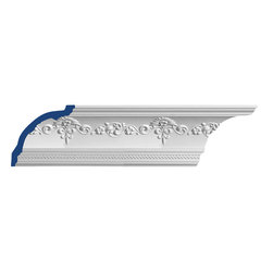 "Inviting Home - Fremont Cove Molding - Fremont cove molding 6-1/4""H x 6-1/4""P x 8-7/8""F x 7'10""L 4 piece minimum order required crown molding specifications: - outstanding quality crown molding made from high density polyurethane: environmentally friendly material is hypoallergenic and fully recyclable no CFC no PVC no formaldehyde; - front surface of this molding has extra durable and smooth surface; - crown molding is pre-primed with water-based white paint; - lightweight durable and easy to install using common woodworking tools; - metal dies were used for consistent quality and perfect part to part match for hassle free installation; - this crown molding has sharp deep and highly defined design; - matching flexible molding available; - crown molding can be finished with any quality paints; Polyurethane is a high density material--it's extremely lightweight and easy to install (and comes primed and ready to paint). It is a green material meaning its CFC and formaldehyde free. It is also moisture resistant--so it won't shrink flex or mold. What's also great about Polyurethane is that it's completely customizable and can be treated as wood (you can saw it nail it screw it and sand it). In addition our polyurethane material comes primed and ready to paint. There is a four piece minimum requirement for this molding purchase"