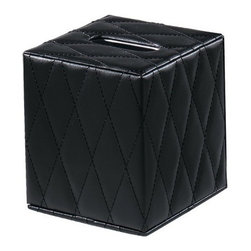 Gedy - Black Square Faux Leather Tissue Box Cover - Trendy, decorative tissue box holder made of black faux leather. Tissue box cover made of faux leather. Available with black leather. From Gedy Palace Collection.
