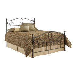 Fashion Bed - Fashion Bed Sylvania Metal Poster Bed in French Roast-Queen - Fashion Bed - Beds - B11775 - This simple and elegant bed features a beautiful arched design, reminiscent of subtly curved flower petals, and delicately shaped posts with rounded finials. The Sylvania bed is made entirely from durable metal materials and finished in a warm French Roast that is sure to enhance any bedroom with style and elegance.