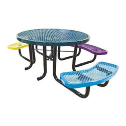 Leisure Craft Childrens Round Accessible Picnic Table - Involve everyone in the fun with the Leisure Craft Childrens Round Accessible Picnic Table, which features three benches and an open side to accommodate a wheelchair. This kid-sized table comes in a variety of colors. Supported on a sturdy understructure of black, 2-inch steel tubing, the expanded metal table top and seats feature a crisscross pattern of 9 gauge steel that lets rain through. An umbrella hole in the center is ready for you to add some shade later on if you desire.About Leisure Craft Inc.If you've ever enjoyed lunch in the park or a family picnic by the lake, you probably have Leisure Craft to thank for the comfortable, convenient amenities. This full-service metal fabricator manufacturers a complete line of outdoor site furnishings, including seating options like benches, tables, chairs, and bleachers. Accessories such as grills, trash and cigarette receptacles, and bike racks round out Leisure Craft's offerings and indicate the company's dedication to addressing all your outdoor site needs.The Hendersonville, North Carolina based company specializes in producing vibrant colors of protective thermoplastic coatings to ensure fun, personalized design that will stand up to the elements. This environmentally safe coating tightly and thickly adheres to the galvanized steel construction, preventing corrosion without ever fading or cracking. Cuts to the coating can be easily repaired by melting and rebinding the plastic, and grafitti can be washed right off with a standard industrial cleaner. This material is simply the best solution for protecting your outdoor furnishings.