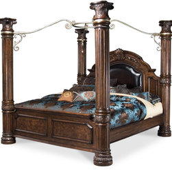 AICO - AICO Monte Carlo II Poster Bed Collection, California King - This collection includes: nightstand, mirror, dresser, chest, media cabinet, and bed of your choice in size