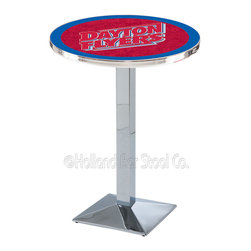 Holland Bar Stool - Holland Bar Stool L217 - Chrome University Of Dayton Pub Table - L217 - Chrome University Of Dayton Pub Table belongs to College Collection by Holland Bar Stool Made for the ultimate sports fan, impress your buddies with this knockout from Holland Bar Stool. This L217 University of Dayton table with square base provides a commercial quality piece to for your Man Cave. You can't find a higher quality logo table on the market. The plating grade steel used to build the frame ensures it will withstand the abuse of the rowdiest of friends for years to come. The structure is triple chrome plated to ensure a rich, sleek, long lasting finish. If you're finishing your bar or game room, do it right with a table from Holland Bar Stool. Pub Table (1)