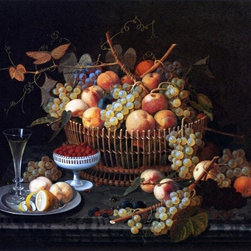 """Severin Roesen Still Life with Fruit and Vase  Print - 18"""" x 24"""" Severin Roesen Still Life with Fruit and Vase premium archival print reproduced to meet museum quality standards. Our museum quality archival prints are produced using high-precision print technology for a more accurate reproduction printed on high quality, heavyweight matte presentation paper with fade-resistant, archival inks. Our progressive business model allows us to offer works of art to you at the best wholesale pricing, significantly less than art gallery prices, affordable to all. This line of artwork is produced with extra white border space (if you choose to have it framed, for your framer to work with to frame properly or utilize a larger mat and/or frame).  We present a comprehensive collection of exceptional art reproductions bySeverin Roesen."""