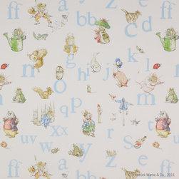 Jane Churchill - Alphabet Beatrix Potter Fabric, Blue - 1 Yard Minimum Order