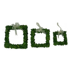 Boxwood 3 Piece Square Ribbon Wreath Set - Mills Floral Company -