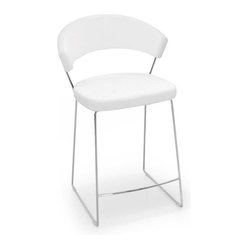 Calligaris - New York Counter Stool Leather, Optic White - Sleek. Sexy. Efficient. You know what to expect if it's Italian. Like this minimalist counter stool made of chrome and buttery white leather. It's the perfect balance of style and functionality.